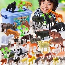 Conjunto de 58 figuras de acción de animales del Zoo para niños, juguete de simulación de animales de dibujos animados, colección de plásticos
