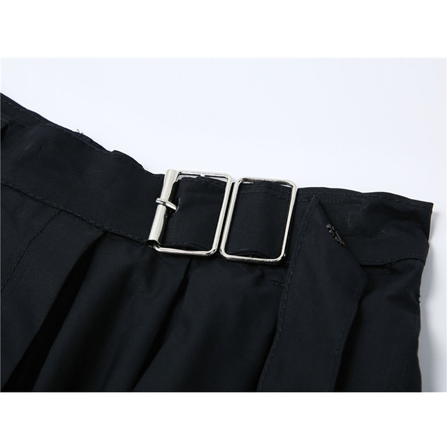 Vintage Gothic Dress Women White Short Sleeve 2021 High Waist Fake Two Pieces Goth Punk Streetwear Harajuku Dress Female Mujer 5