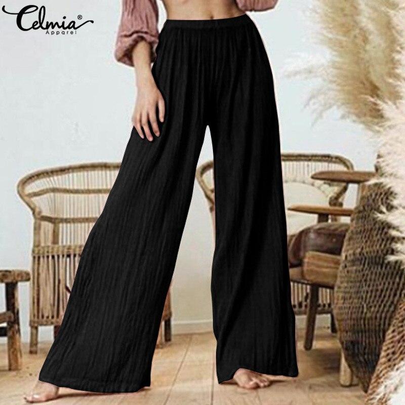 2019 Plus Size Celmia Women High Waist   Wide     Leg     Pants   Casual Loose Pleated Long Trousers Solid Elegant Work Lady Pantalon Femme