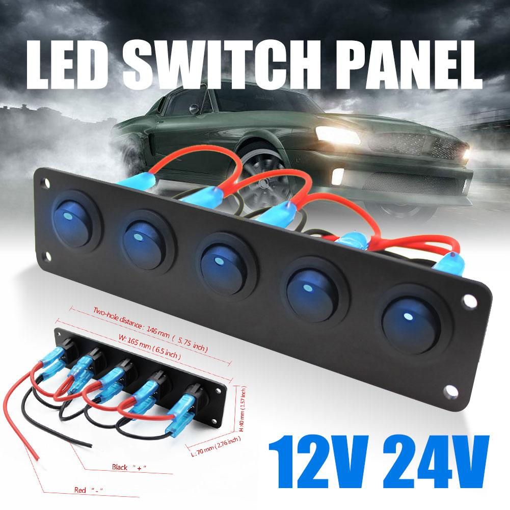 5 Gang Rocker Switch Round Toggle Switch Waterproof Blue LED Switch Panel For Marine Yacht Fit For 12V-24V Cars, RV, Caravans