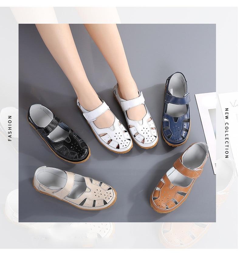 LL 9588-2020 New Summer Women Sandals Genuine Leather Woman Flat Beach Sandlas-1
