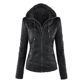2020 nouvelles femmes automne hiver Faux cuir souple vestes manteaux dame noir PU fermeture éclair Epaule moto Streetwear 1