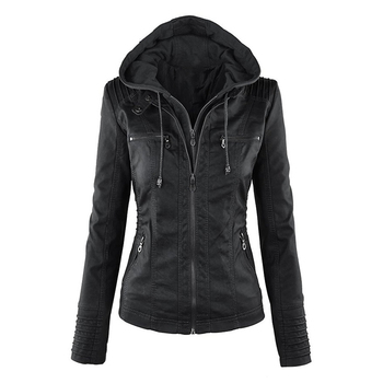 2020 New Women Autumn Winter Faux Soft Leather Jackets Coats Lady Black PU Zipper Epaule Motorcycle Streetwear