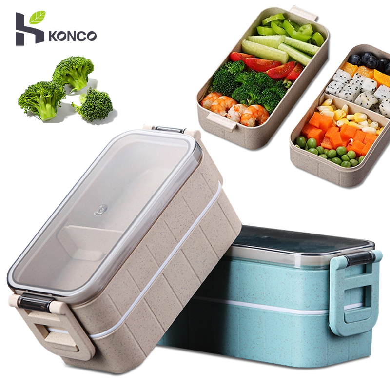 Konco Lunch Box Bento Box for Student Office Worker Double-layer Microwave Heating  lunch container  food storage container