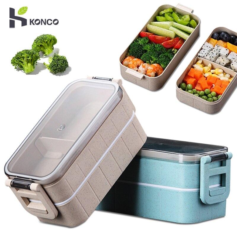 Konco boîte à Bento boîte pour étudiant employé de bureau Double couche micro-ondes chauffage déjeuner conteneur alimentaire conteneur de stockage