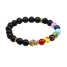 2019 модный цветной браслет с бусинами из натурального лавы