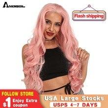 Аногол Длинные Волнистые Розовые высокотемпературные волокна бордовый серый блонд Оранжевый Синтетический кружевной передний парик для женщин бесплатная часть