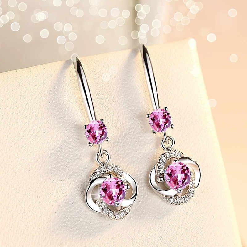Boho femme cristal rose bleu blanc boucles d'oreilles mode 925 argent Zircon pierre boucles d'oreilles petit rond boucles d'oreilles pour les femmes