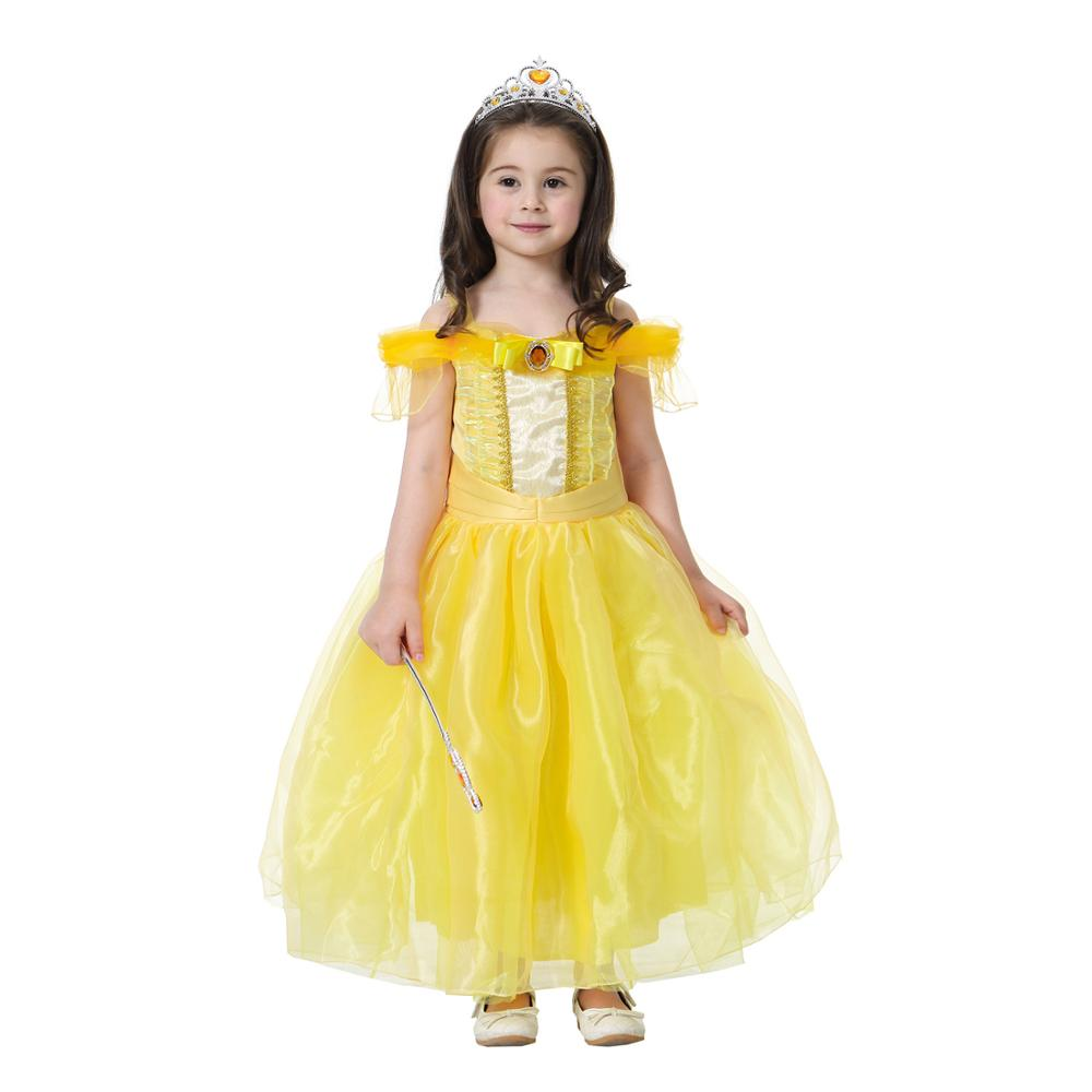 Bell Kids Halloween Dress Up Party Princess Girl Costume Gloves Wand Tiara 2-10Y