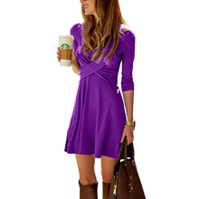 цена на Women Spring A-line Midi Dress Cross Front V-neck Half Sleeve Dresses Solid Color Office Ladies Solid Plus Size Vestidos Verano