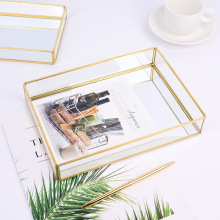 Glass Storage Tray Gold Copper Edge Jewelry Tray Northern Europe INS Storage Tray Modern Decoration Desktop Organizing