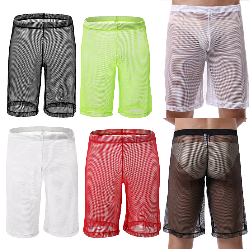 Mens Sleep Bottoms Shorts Sexy Mesh Transparent Lingerie Panties Causal Loose Sports Trousers Undershirts Wetlook Gay Underwear