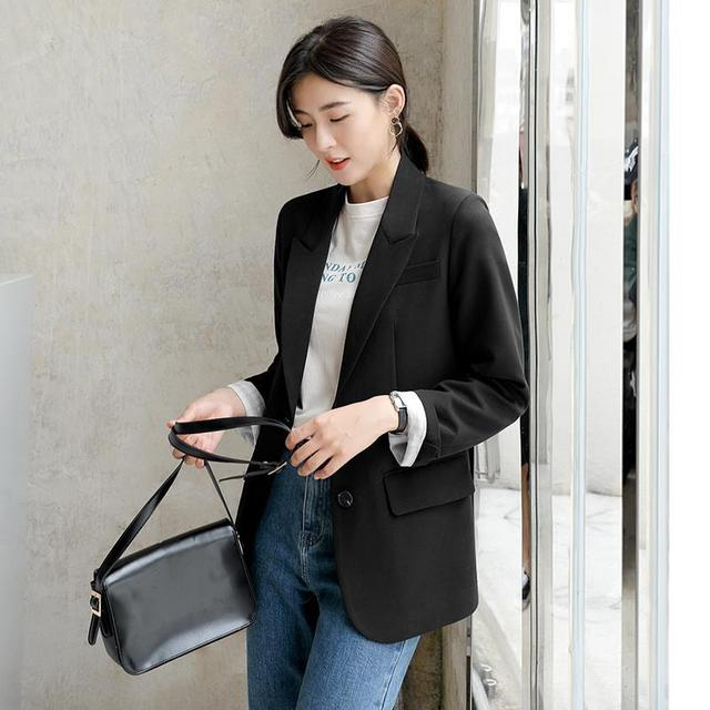 Peonfly New 2021 Autumn Fashion Blazer Jacket Women Casual Korean Pockets Long Sleeve Coat Office Ladies Solid Loose Blazer 4