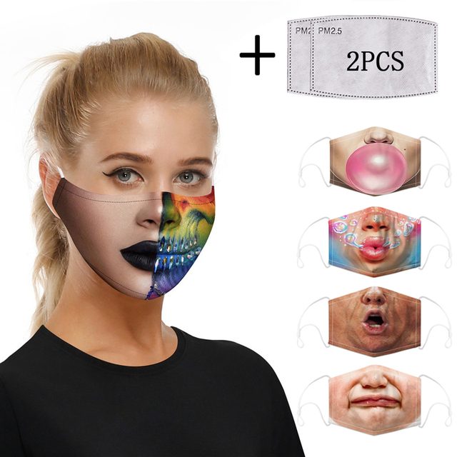 Fashion Print Mouth Mask Reusable Protective PM2.5 Filter Paper Cotton Face Mask Bacteria Proof Flu Mask Anti Dust Mouth-muffle