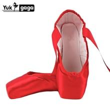 Pointe Toe zapatos de Ballet de satén, zapatos blandos para danza, zapatillas de Ballet con suela abierta, de seda, color negro, rojo, Nude