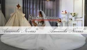Image 2 - robe de mariee full beading long sleeves wedding dress puffy ball gown bride dress 2020