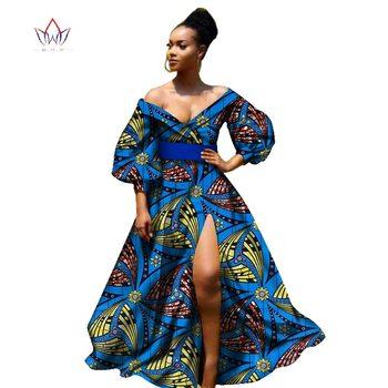 2019 فساتين الأفريقية بازان للنساء الأفريقية ثلاثة أرباع الأكمام فساتين للنساء الملابس الأفريقية الشمع dashiki النسيج WY2255