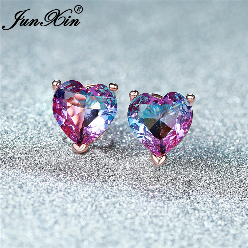 Girl Gradient Rainbow Fire Crystal Love Heart Stud Earrings For Women White Gold Rose Gold Red Blue Zircon Small Wedding Earring