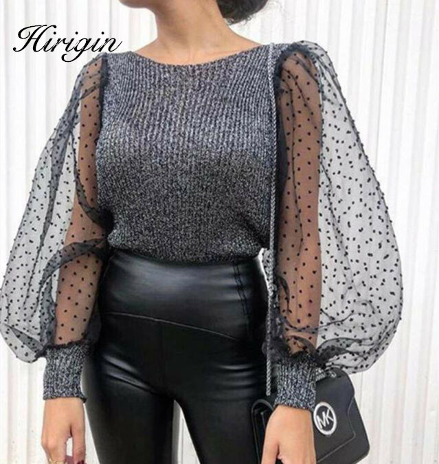 Puff Sleeve Knitwear Mesh O-neck Pullover Autumn Women Polka Dot Winter Top Knitted Turtleneck Thin Sweater