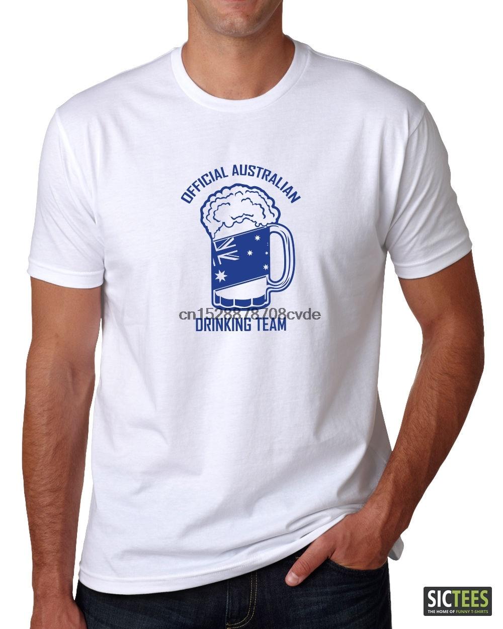100% Cotton Print Mens Summer O-Neck T-shirt. Australian Drinking Team. Aussie Pride Australia Big Day such is life Tee Shirt