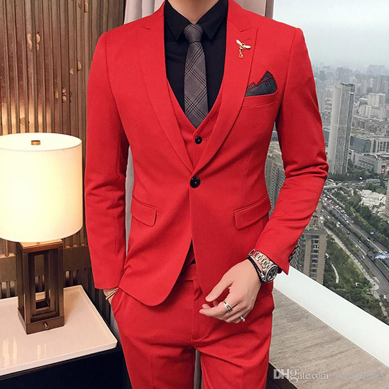 New Style Custom Made Three Piece Red Evening Party Men Suits Peaked Lapel Trim Fit Wedding Tuxedos (Jacket+Pants+Vest)