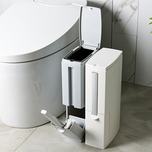 Narrow Plastic Trash Can Set Toilet Brush Bathroom Waste Bin Dustbin Bucket