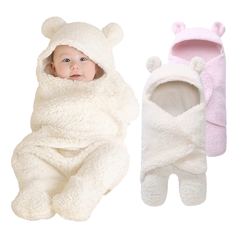 Cute Bear Shape Baby Blankets Newborn Infant Swaddle Blanket Baby Sleeping Bag Wrap Photography Prop For Baby Blanket Winter