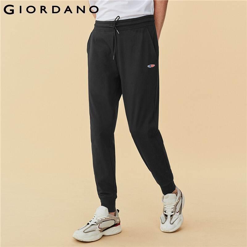 Giordano Men Pants Embroidery Thin Silm Multi Pocket Joggers Elastic Waistband Ribbed Cuffs Pantalon Homme 13110203