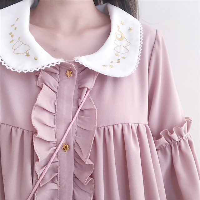 Woherb 2021 Summer Dress Women Harajuku Pink Ladies Ruffle Lace Patch Kawaii Dresses Lolita Cosplay Sweet Loose Vestidos 21092 6