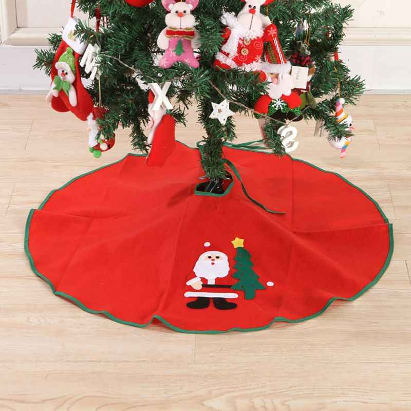 Christmas Tree Skirt Red Round Tree Skirt Printed Santa Claus Festive Home Decorations Blanket88