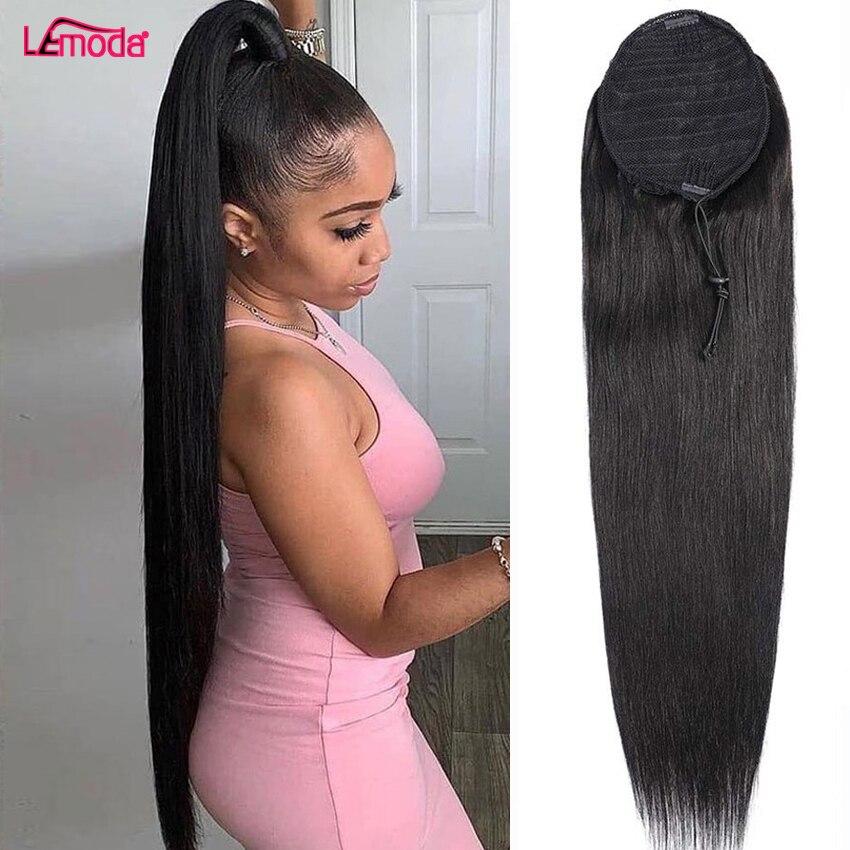 Cheveux raides cordon queue de cheval Extensions Remy 10-28 pouces longue pince en queue de cheval Lemoda brésilienne droite cheveux humains