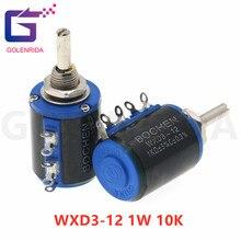 2 pces WXD3-12 1w 10k ohm WXD3-12-1W 5 anel multi-círculo precisão fio-ferida potenciômetro