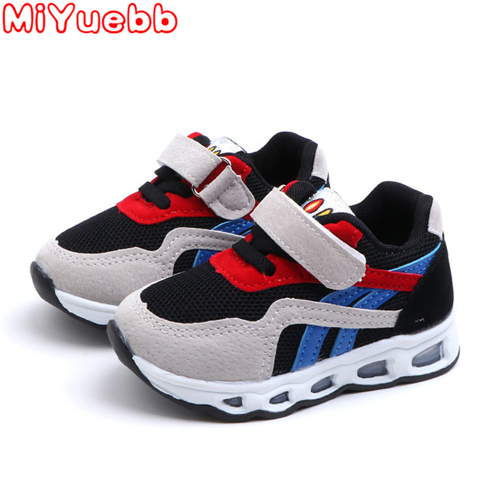 Children Sneakers PU Stripe Pattern Luminous Sneakers Inner Cotton Material Children'S Micro Increase Shoes Kids Casual Sneakers