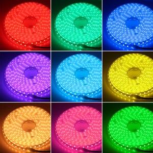 Светодиодная лента RGB 220 В, Светодиодная лента 5050 RGB с 24-клавишным пультом дистанционного управления, водонепроницаемая гибкая светодиодная ...