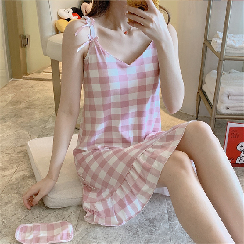 2020 Summer Large Size M-2XL Cute Strap Nightdress Cotton Can Be Worn Casual Sexy Cute Nightdress Dress Comfortable Women