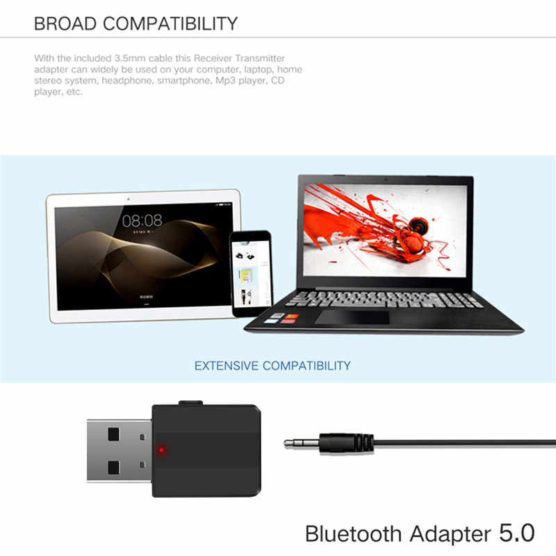 Kebidu Mini Bluetooth 5.0 Ontvanger Zender Stereo Bluetooth Aux Audio Rca Usb 3.5 Mm Jack Voor Tv Pc Auto Kit draadloze Adapter