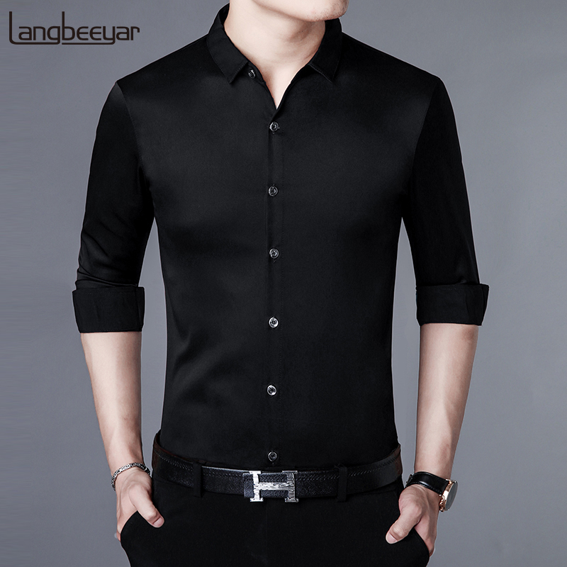 2019 Fall New Fashion Brand Shirt Man Dress Shirt Slim Fit Street Wear Long Sleeve High Quality Korean Casual Mens Clothing