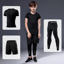 2020 Spring Autumn Boys Long Sleeve+ trousers + shorts 3 suit Arrival Quick Dry Compression Shirt Fitness Clothing Kids Suit set цена 2017