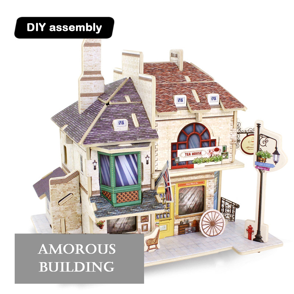 DIY wooden cabin Assembling small house model toys World style architectural model Manual 3D model puzzle Model assembly kit image
