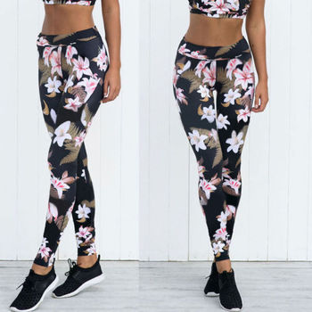 Newly Summer Vintage High Waist Print Pant Women Thin Pants Ladies Fitness Leggings Running Gym Exercise Sporting Trousers
