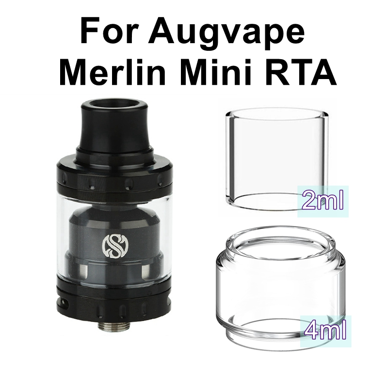 Replacement Pyrex Glass Tube Tank For Augvape Merlin Mini RTA Atomizer Tank Glass MTL Drip Tip 510 MTL Vape Accessories