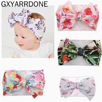 Pink Newborn Baby Girl Toddler Fabric Turban Bow Knot Headdress Bow Headband