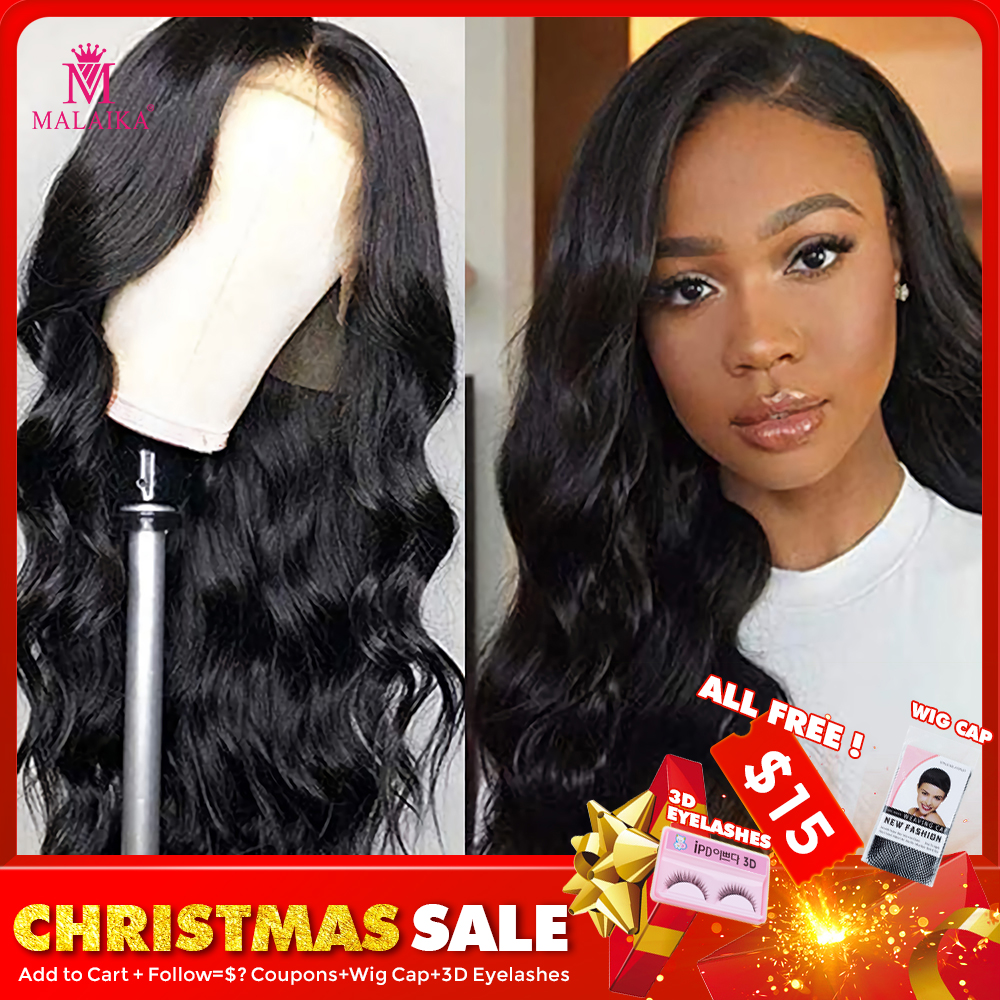 MALAIKA 12-26 Inch Full Lace Wig With Baby Hair Body Wave Glueless Brazilian Human Hair Wigs Adjustable Wig Pre Plucked