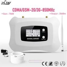 스마트 850 mhz cdma 2g 3g 휴대 전화 신호 부스터 lcd 70db 이득 cdma 휴대 전화 증폭기 키트 미국 2g 3g 사용