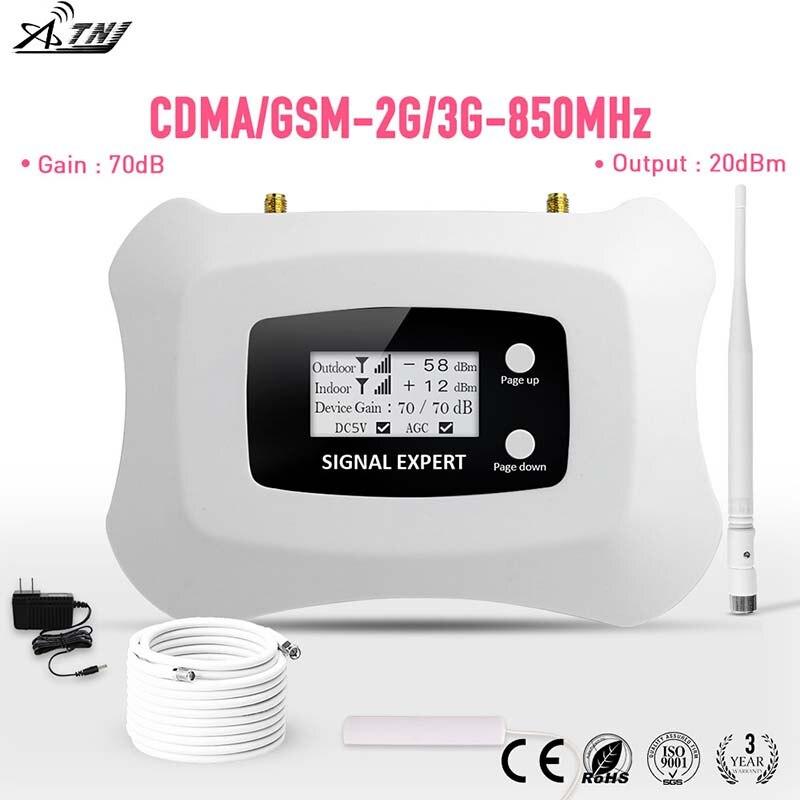 Inteligentní 850MHz CDMA 2G 3G mobilní telefon zesilovač signálu s LCD 70dB zisk CDMA mobilní telefon zesilovač sada pro Ameriku 2G 3G použití