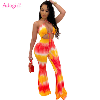 Adogirl Tie Dye Print Halter Jumpsuit Women Sexy Hollow Out Backless Summer Casual Romper Flare Pants Female Overalls