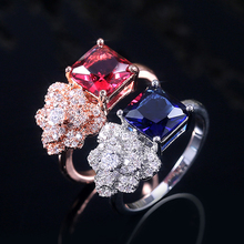 Huitan Luxury Dense Flower Shaped Engagement Rings With Square Cubic Zircon Stone Prong Setting Intersperse Wholesale Party Ring huitan anniversary gift rings for women luxury long cubic zircon stone prong setting with cirrus manufacturer direct sale rings