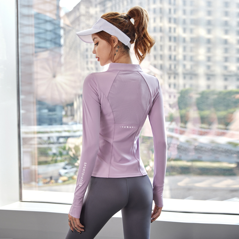 Новинка, женские облегающие рубашки для тренажерного зала и йоги, топ на молнии с длинным рукавом, Спортивная футболка для тренировок и бега...