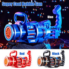 New Automatic Gatling Bubble Gun Toys Blowing Bubble Maker Machine with Light Sound for Kids Children Beach Summer Outdoor Toy