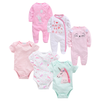 2019 Fashion Newborn Baby Girls Footies Set Boy Clothes Babies Footie Long Sleeve 100%cotton printing Infant Clothes 0-12 Months newborn baby girl clothes footies lucky child cotton cartoon printing infant clothing 1pcs 0 12 months